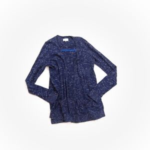 Lou and Grey Textured Open Front Navy Cardigan